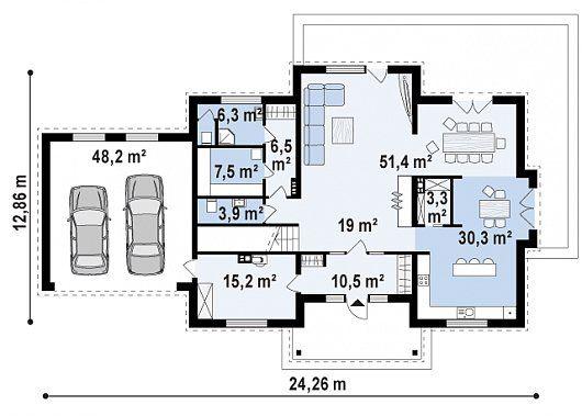 план дома с гаражом и буферным помещением
