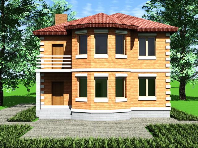 частный дом с кирпичным фасадом