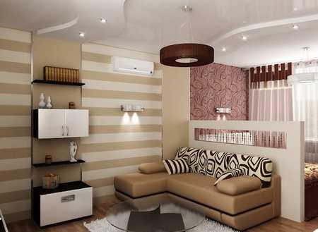 Дизайн гостиной, совмещенной со спальней в одну комнату
