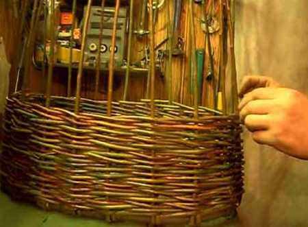 Процесс плетения корзины своими руками