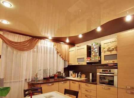 Плюсы натяжных потолков на кухне и их минусы