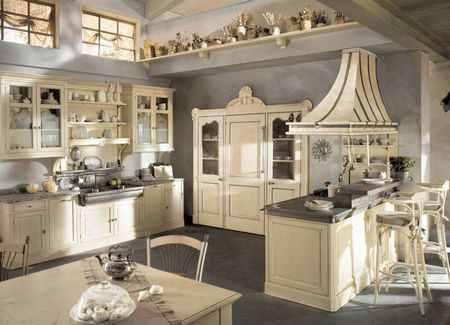 Кухня и гостиная комната в стиле кантри