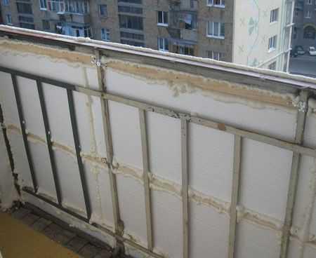 Утепление и отделка стен на балконе