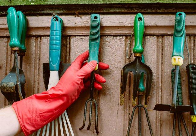 Садово-огородный инвентарь — шланг, грабли, секатор